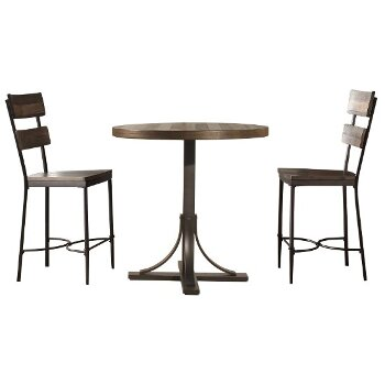 3-Piece Set w/ Non-Swivel Counter Height Stools Product View 2