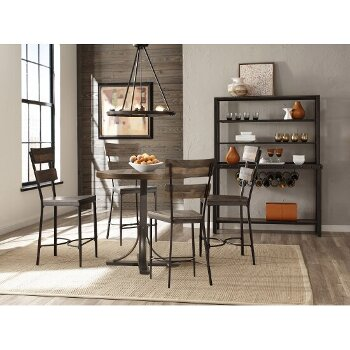 5-Piece Set w/ Non-Swivel Counter Height Stools