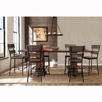 "Hillsdale Furniture Jennings Collection 7-Piece Rectangle Counter Height Dining Set with (6) Non-Swivel Counter Stools in Distressed Walnut Finished Wood with Brown Metal, 96"" W x 40"" D x 46"" H"