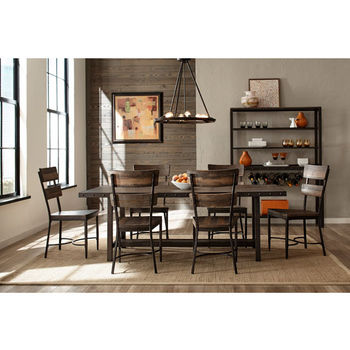 "Hillsdale Furniture Jennings Collection 7-Piece Dining Set with (6) Jenning Side Chairs in Distressed Walnut Finished Wood with Brown Metal, 84"" W x 40"" D x 38-1/2"" H"