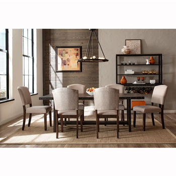 "Hillsdale Furniture Jennings Collection 7-Piece Dining Set with (6) Emerson Chairs in Distressed Walnut Finished Wood with Brown Metal, 40"" W x 84"" D x 38-1/2"" H"