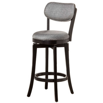 Hillsdale Furniture Sloan Swivel Stool, Black Frame with Slate Gray Fabric Seat