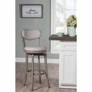 """Hillsdale Furniture Sloan Swivel Counter Height Stool, Aged Gray, 20""""W x 17-3/8""""D x 38-1/4""""H"""