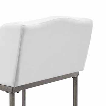 """Hillsdale Furniture Dillon Metal Counter Height Stool, Textured Silver with White Fabric, 20-3/4""""W x 21-1/2""""D x 35-1/4""""H"""