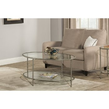 "Hillsdale Furniture Corbin Coffee Table with (2) Glass Shelves in Silver with Black Rub Finish, 48"" W x 30"" D x 20"" H"