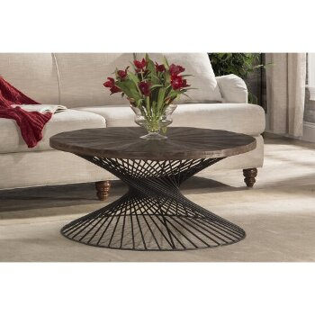 """Hillsdale Furniture Kanister Coffee Table  in Weathered Walnut Finished Wood/Dark Pewter Metal Finish, 40-5/8"""" W x 40-5/8"""" D x 20"""" H"""