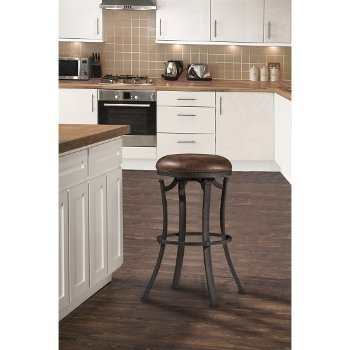 Counter Stool Black & Cocoa Fabric