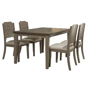 5-Piece Set w/ Chairs Distressed Gray & Fog Fabric