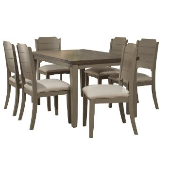7-Piece Set w/ Chairs Distressed Gray & Fog Fabric