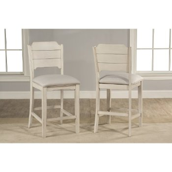 """Hillsdale Furniture Clarion Non-Swivel Open Back Counter Height Stool, Set of 2 in Sea White Finish and Fog Fabric , 19"""" W x 22-1/2"""" D x 41-1/4"""" H"""