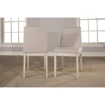 5-Piece Set w/ Upholstered Chairs Sea White & Fog Fabric Product View 4