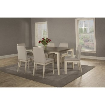 7-Piece Set w/ Upholstered Chairs Sea White & Fog Fabric
