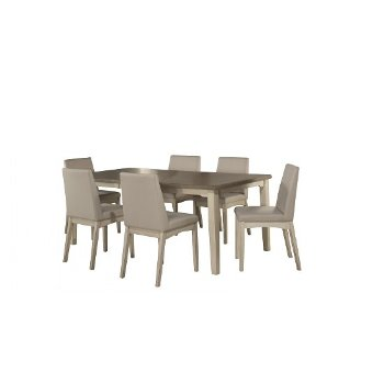 7-Piece Set w/ Upholstered Chairs Sea White & Fog Fabric Product View