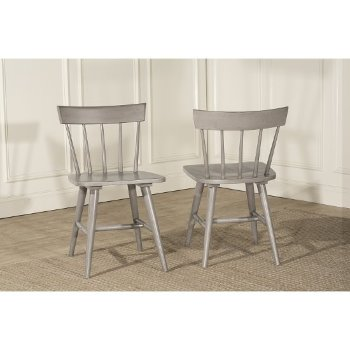 "Hillsdale Furniture Mayson Spindle Back Dining Chair, Set of 2  in Gray Finish, 18-1/2"" W x 19-5/8"" D x 30-3/4"" H"