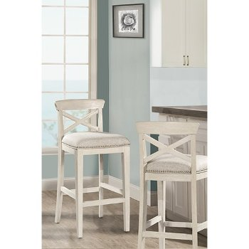 """Hillsdale Furniture Bayview Non-Swivel Counter Stool, Set of 2  in White (Wirebrush) Finish and Silver Fabric, 20"""" W x 18-1/2"""" D x 36-1/2"""" H"""