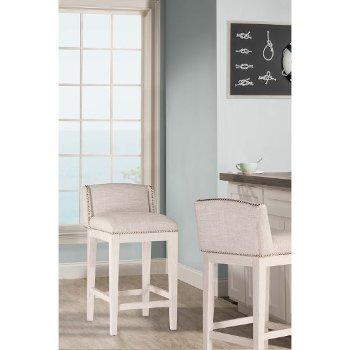 Counter Stool  White (Wirebrush) & Silver Fabric