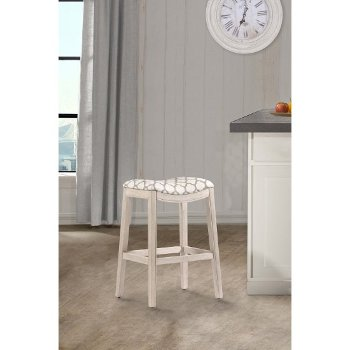 Counter Stool White & Trellis Ash Fabric