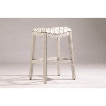Bar Stool White & Trellis Ash Fabric