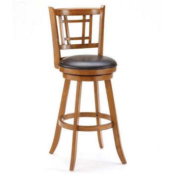 Hillsdale Furniture Fairfox Swivel Counter Stool, Oak Finish, Brown vinyl Seat