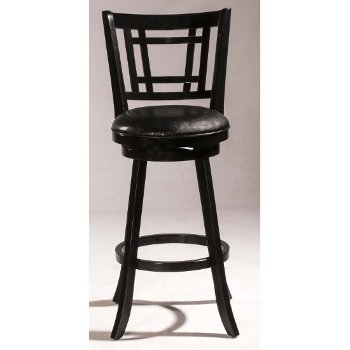 Counter Stool Black & Black Faux Leather