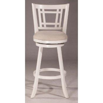 Counter Stool White & Ecru Fabric
