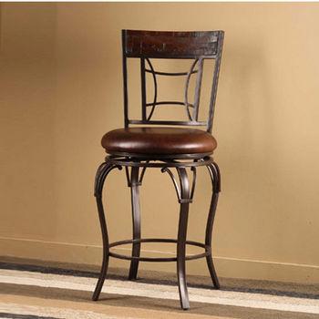 Hillsdale Furniture Granada Swivel Counter Stool, Dark Chestnut Finish, Brown Vinyl Seat