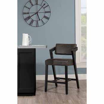 "Hillsdale Furniture Snyder Stationary Counter Height Stool, Blackwash, 21-1/2""W x 24""D x 37-1/2""H"