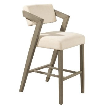 """Hillsdale Furniture Snyder Non-Swivel Bar Stool  in Aged Gray Finish and Ecru Fabric, 22-1/2"""" W x 25-1/2"""" D x 43"""" H"""