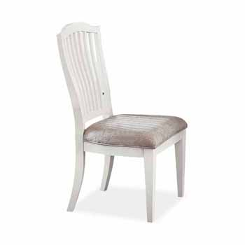 "Hillsdale Furniture Rockport Dining Chairs in White Wood and Linen Upholstery, Set of 2, 24""W x 21-3/4""D x 40-1/2""H"
