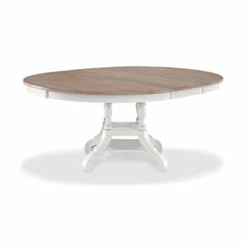 """Hillsdale Furniture Rockport Round/Ovall Extension Dining Table in White Wood and Driftwood, 56""""-74""""W x 54""""D x 29""""H"""