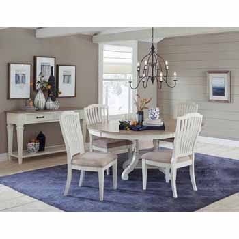 Hillsdale Furniture Rockport 5-Piece Round/Oval Extension Table Dining Set with (4) Side Chairs in White Wood and  Linen Upholstery