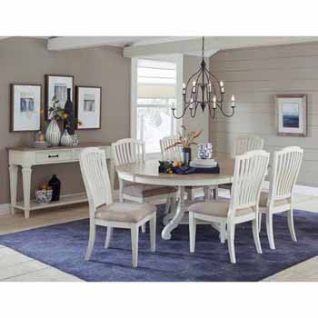 Hillsdale Furniture Rockport 7-Piece Round/Oval Extension Table Dining Set with (6) Side Chairs in White Wood and Linen Upholstery
