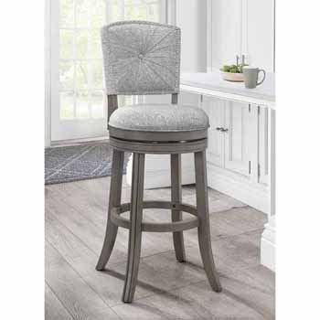 "Hillsdale Furniture Santa Clara II Swivel Bar Stool, Antique Gray, 22""W x 16""D x 44-1/2""H"