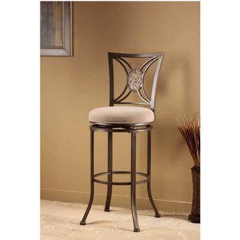 Hillsdale Furniture Rowan Swivel Counter Stool, Silver Brown Finish, Light Brown Seat