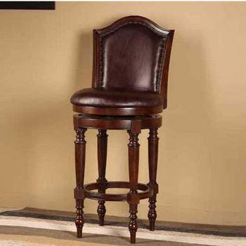 Hillsdale Furniture Barcelona Swivel Counter Stool, Brown Cherry Finish, Brown Vinyl Seat