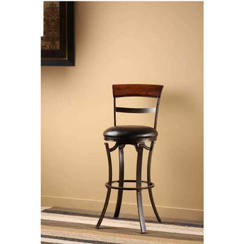 Hillsdale Furniture Kennedy Swivel Counter Stool, Black/Gold with Cherry Finished Panel Top Finish, Black Vinyl Seat