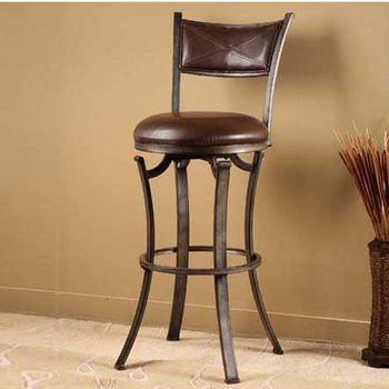 Hillsdale Furniture Drummond Swivel Counter Stool, Rubbed Pewter Finish, Neutral Vinyl Seat
