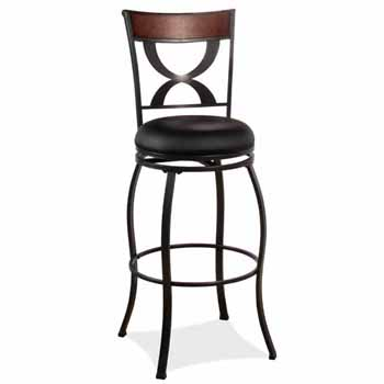 "Hillsdale Furniture Stockport Swivel Bar Height Stool, Pewter, 19-1/8""W x 17""D x 44-1/2""H"