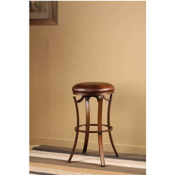 Hillsdale Furniture Kelford Backless Swivel Counter Stool, Antique Bronze Finish, Copper Vinyl Seat