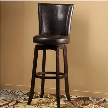 Hillsdale Furniture Copenhagen Swivel Counter Stool - Brown Vinyl, Espresso Finish, Brown Vinyl Seat