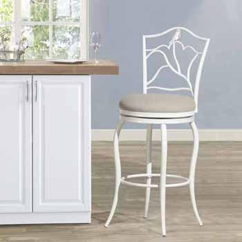 "Hillsdale Furniture Avienne Swivel Bar Stool, White, 23-1/2""W x 23-1/2""D x 45-1/4""H"