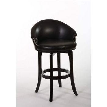 Hillsdale Furniture Dartford Swivel Counter Stool, Dark Brown Cherry Finish, Black Vinyl Seat