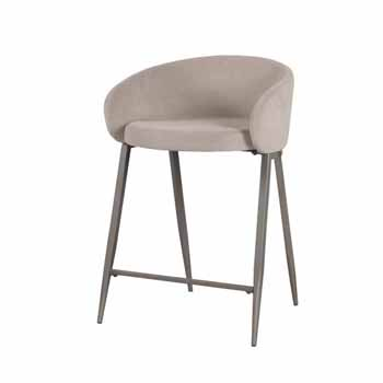 """Hillsdale Furniture Cromwell Metal Counter Height Stool, Taupe Velvet, 23""""W x 24-1/4""""D x 34-1/4""""H"""