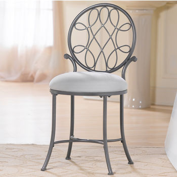 Hillsdale Furniture O'Malley Collection Vanity Stool in Metallic Grey, 16'' W x 19-1/2'' D x 33-3/4'' H
