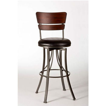 Hillsdale Furniture Santa Monica Swivel Counter Stool, Pewter/ Distressed Cherry Finish, Black Vinyl Seat