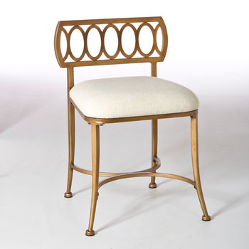 Hillsdale Furniture Canal Street Collection Street Vanity Stool in Gold Bronze, 17'' W x 17'' D x 26'' H