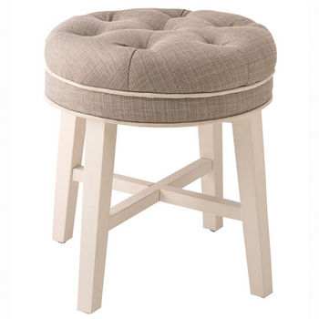 Admirable Sophia Vanity Stool In White Finish And Linen Gray Or Spa Caraccident5 Cool Chair Designs And Ideas Caraccident5Info