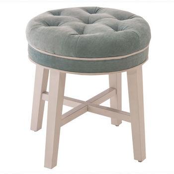 "Hillsdale Furniture Sophia Vanity Stool in White Finish and Spa (Aqua Blue) Fabric, 16"" W x 16"" D x 18"" H"