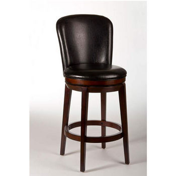 Hillsdale Furniture Victoria Swivel Counter Stool, Dark Brown Cherry Finish, Black Vinyl Seat
