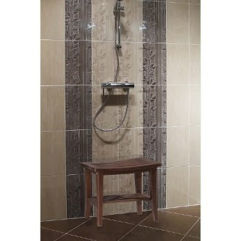 "Hillsdale Furniture Preston Rectangle Vanity Stool  in Walnut (Eucalptus) Finish, 20"" W x 13-3/4"" D x 17-1/4"" H"